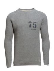 BRONSON WAFFLE KNIT CREW NECK - Light Grey Melange