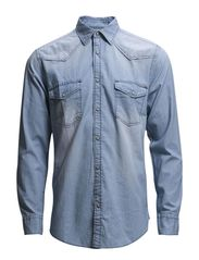 jjvcJOSHUA DENIM SHIRT L/S WESTERN NOOS - Light Blue Denim