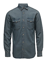 JJVSHERIDAN SHIRT L/S WESTERN NOOS - DARK DENIM