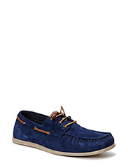 JJSINGAPORE SUEDE BOAT SHOE DRESS BLUE - Dress Blues