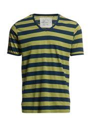 Stribet T-shirt, V-hals - blue/green
