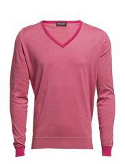 Waller Striped Pullover Vn Ls - Rosebud