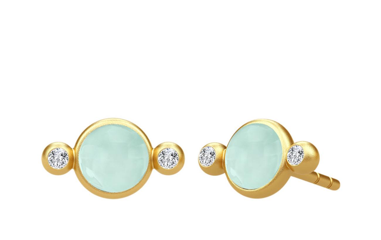 Julie Sandlau Prime Earring - Gold/Peony Chalcedony