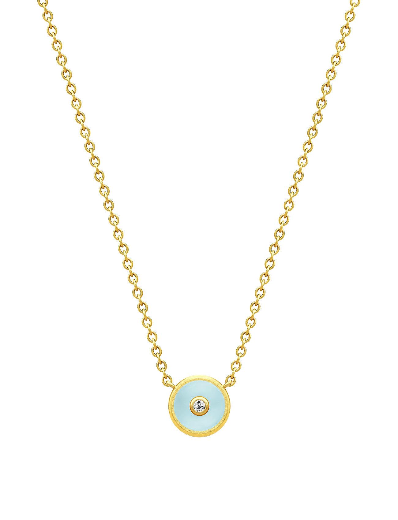 Iris Necklace - Gold/Light Blue Julie Sandlau Smykker til Damer i Blå