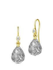 Droplet Earrings - Gold/Grey - GREY