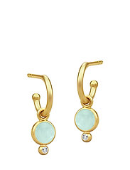 Prime Earring - Gold/Peony Chalcedony - GREEN