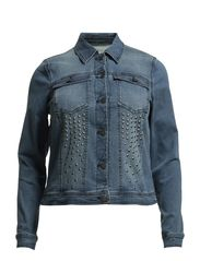 CUT LS DENIM JACKET- S - Light Blue Denim
