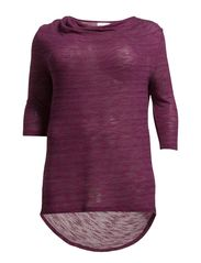 HIT 3/4 SLEEVE WATERFALL TOP - S - Festival Fuchsia