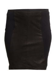 ELOISE LEATHER ABOVE KNEE SKIRT - K - Black