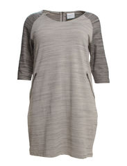 EBBA ABOVE KNEE 3/4 SLEEVE JERSEY DRESS - Medium Grey Melange