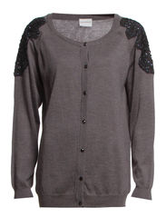 VELMA LS O-NECK KNIT CARDIGAN - S - Medium Grey Melange