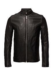 Leather rider jacket - BLACK