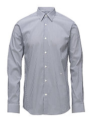 Bold stripe L/S dress shirt - BLUE