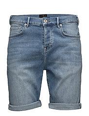 Heavy wash indigo denim shorts - HEAVY WASH