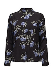 Blossom highneck blouse - MAGNOLIA PURPLE AOP