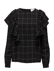 Shari ruffle blouse - BLACK WHITE CHECK
