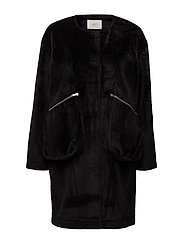 Hampton fake fur coat - BLACK