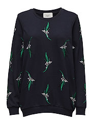Saza sweatshirt - FLEUR GREEN AOP