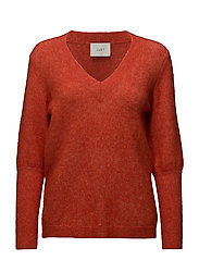 Chinne v neck knit - Aurora red