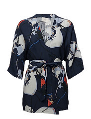 Anna wrap blouse - Big flower blue aop