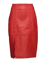 Beate leather skirt - Aurora red