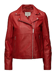 Sabine leather jacket - Aurora red