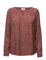Pasha dot blouse- MIN 2 - BURNT HENNA / 50003 CHALK