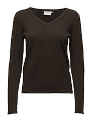 Loretta v-neck pullover- MIN 2 - BURNT GREEN