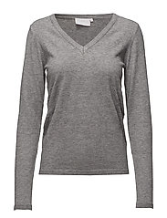 Loretta v-neck pullover- MIN 2 - GREY MELANGE