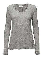 Anna T-shirt L/S - LIGHT GREY MELANGE