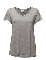 Anna V-Neck T-Shirt- MIN 16 pcs. - LIGHT GREY MELANGE