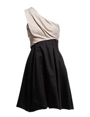 Karen Millen Dn195 Soft Full Skirted Collec - Black/Multi