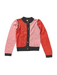 Recycled Knit Girls Cardigan - Red & coral melange
