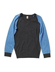 Recycled Knit Boys O-Neck - Blue melange