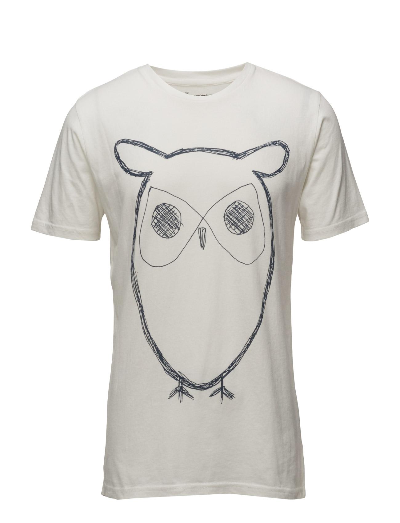 Single Jersey With Owl Print - Gots Knowledge Cotton Apparel Kortærmede til Mænd i stjerne hvid