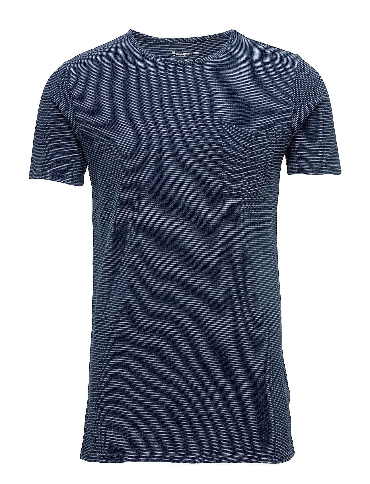 Pique Indigo T-Shirt Knowledge Cotton Apparel Kortærmede til Herrer i