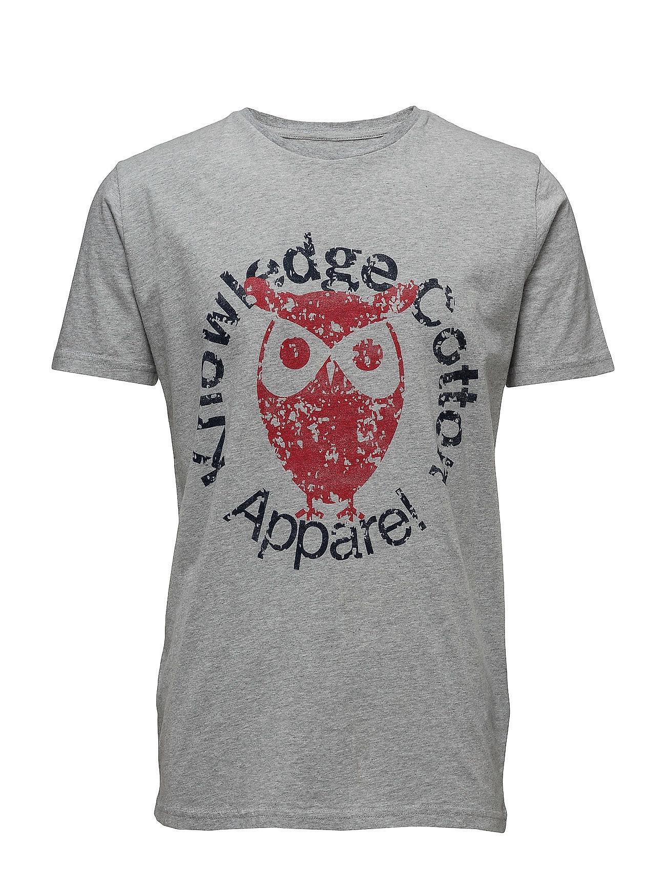 Tee W/Owl Print - Gots Knowledge Cotton Apparel Kortærmede til Herrer i Grey Melange
