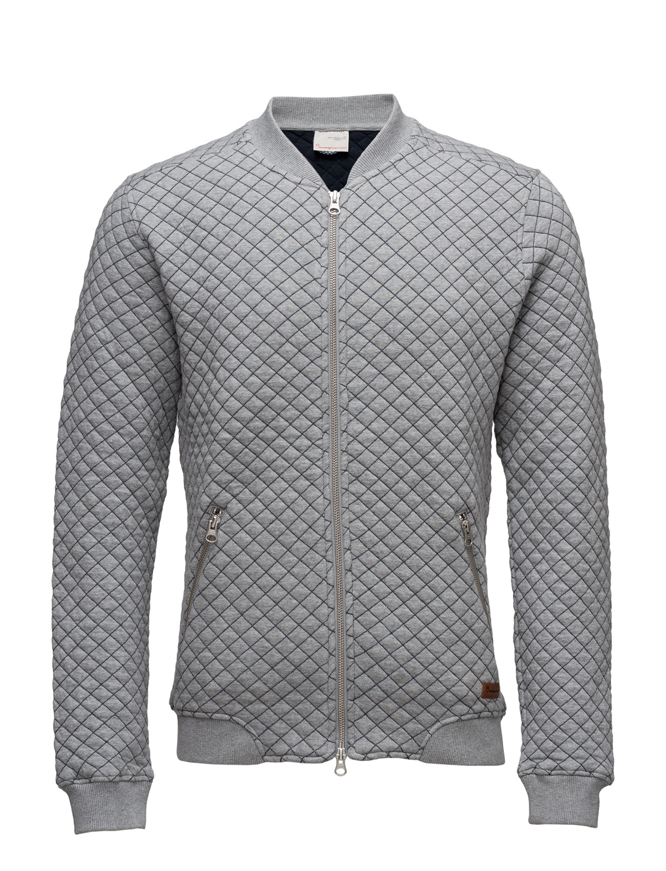 Quilted Bomber Cardigan Knowledge Cotton Apparel Jakker til Mænd i Grey Melange