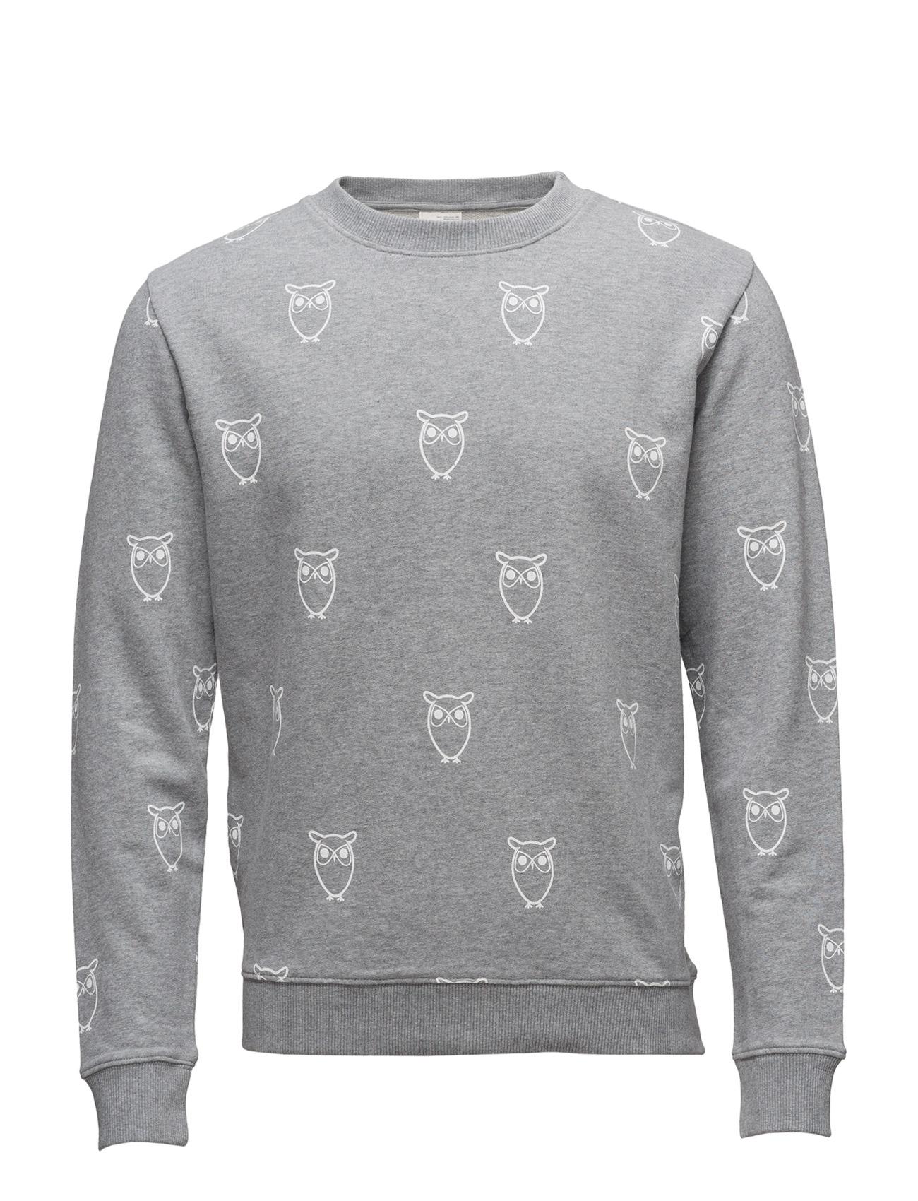 Sweatshirt W/Big Owl Print - Gots Knowledge Cotton Apparel Sweat pants til Herrer i Grey Melange