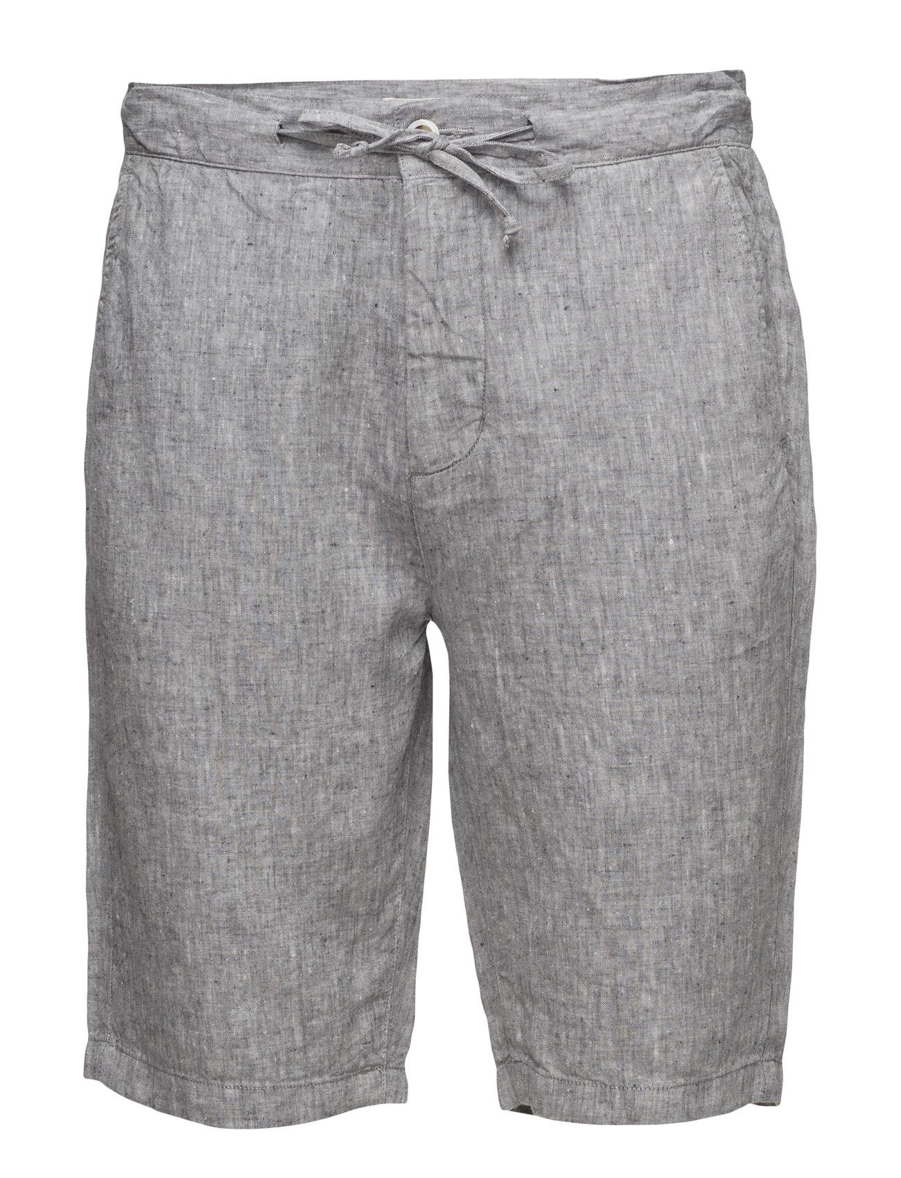 Loose Yarn Dyed Linen Shorts Knowledge Cotton Apparel Shorts til Mænd i