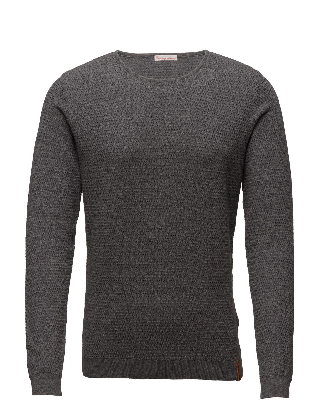 Waffel Knit Structure - Gots Knowledge Cotton Apparel Rundhalsede til Mænd i Mørk grå