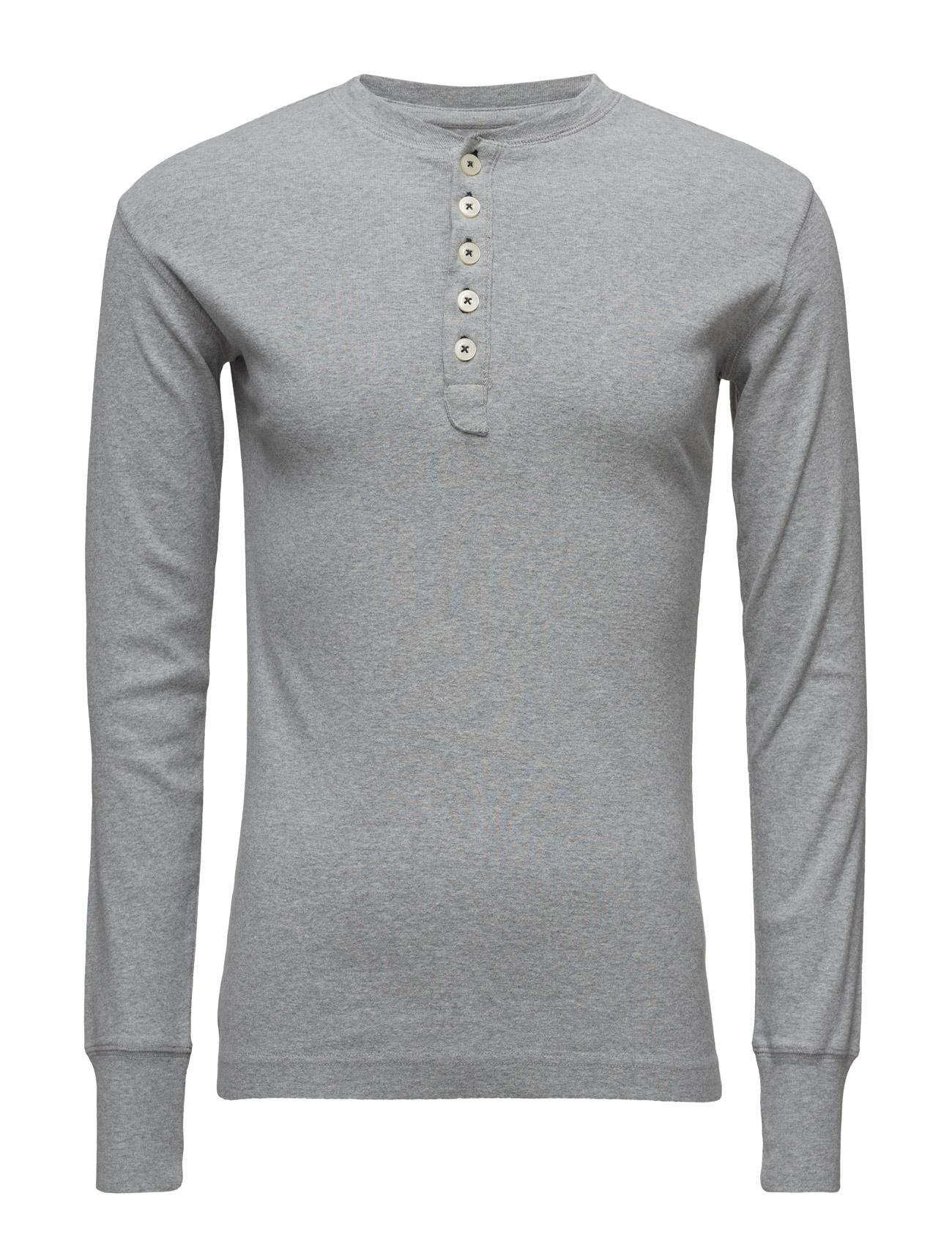 Rib Knit Henley Gots Knowledge Cotton Apparel Langærmede til Herrer i Grey Melange