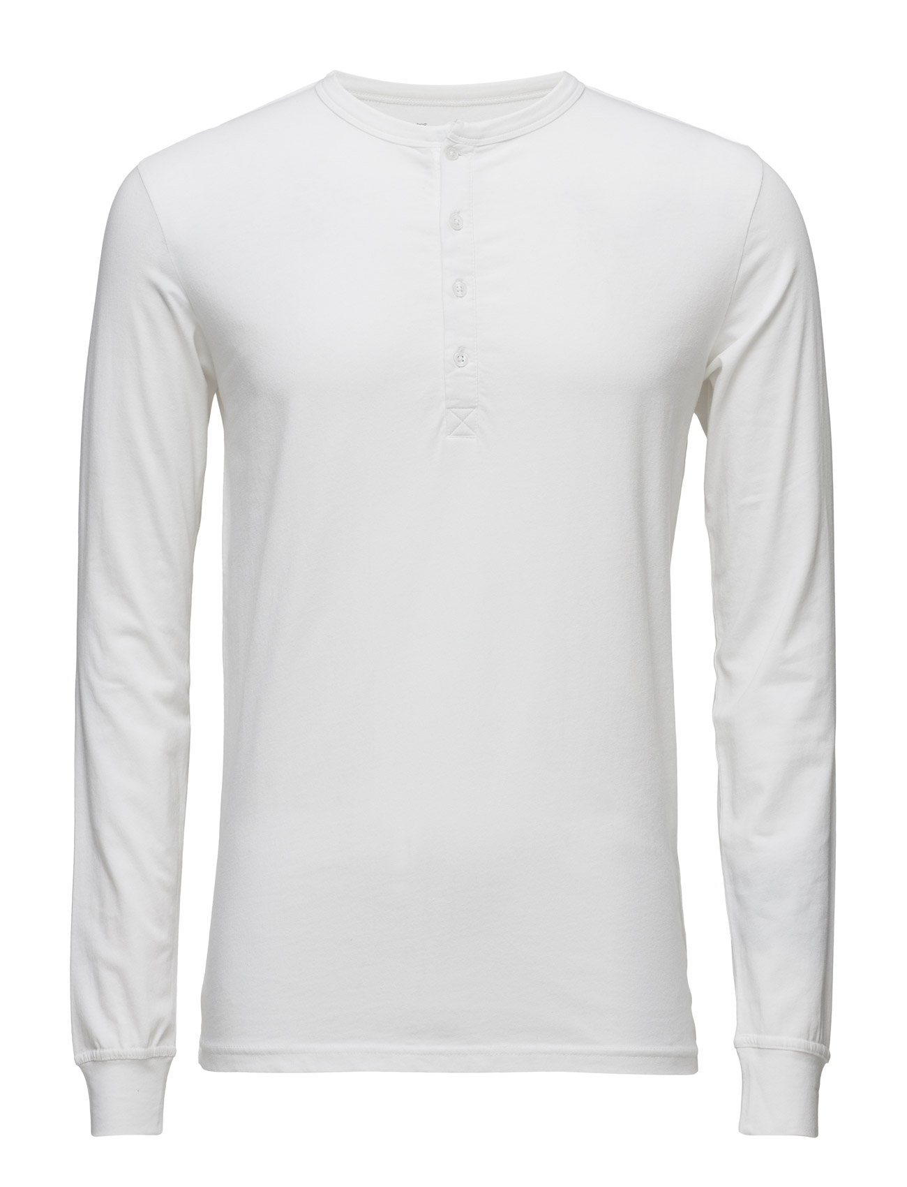 Henley - Gots Knowledge Cotton Apparel Langærmede til Herrer i Bright White