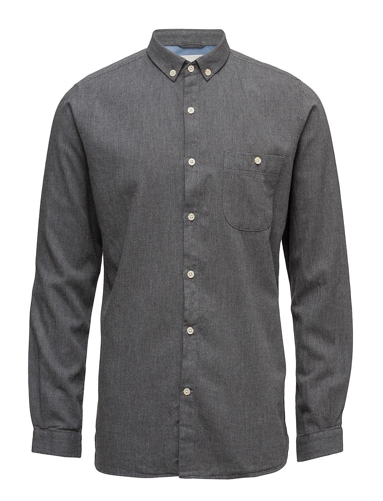Solid Col. Flannel Shirt - Gots Knowledge Cotton Apparel Casual sko til Herrer i Mørk grå