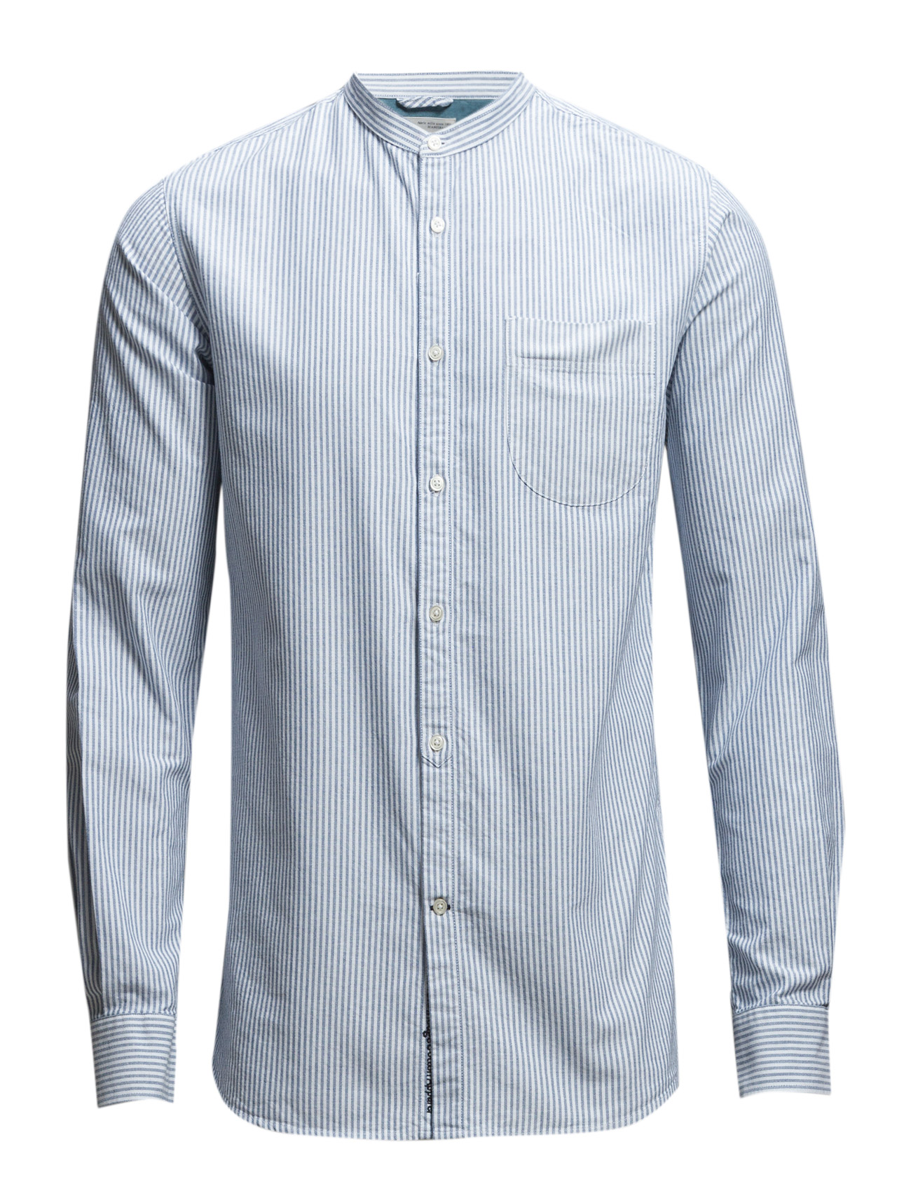 Stand Collar Striped Shirt - Gots Knowledge Cotton Apparel Casual Skor