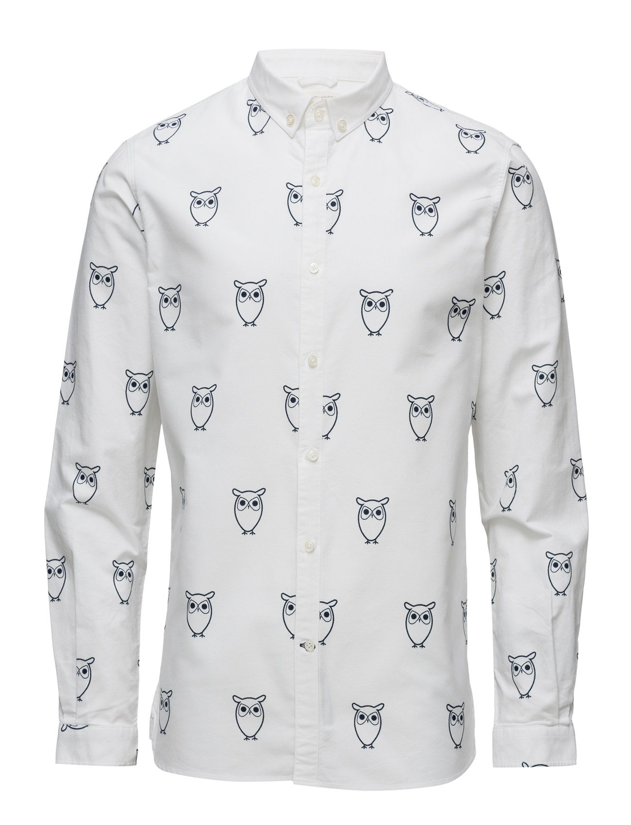 Oxford W/Owl Print L/S - Gots Knowledge Cotton Apparel Casual sko til Herrer i Bright White
