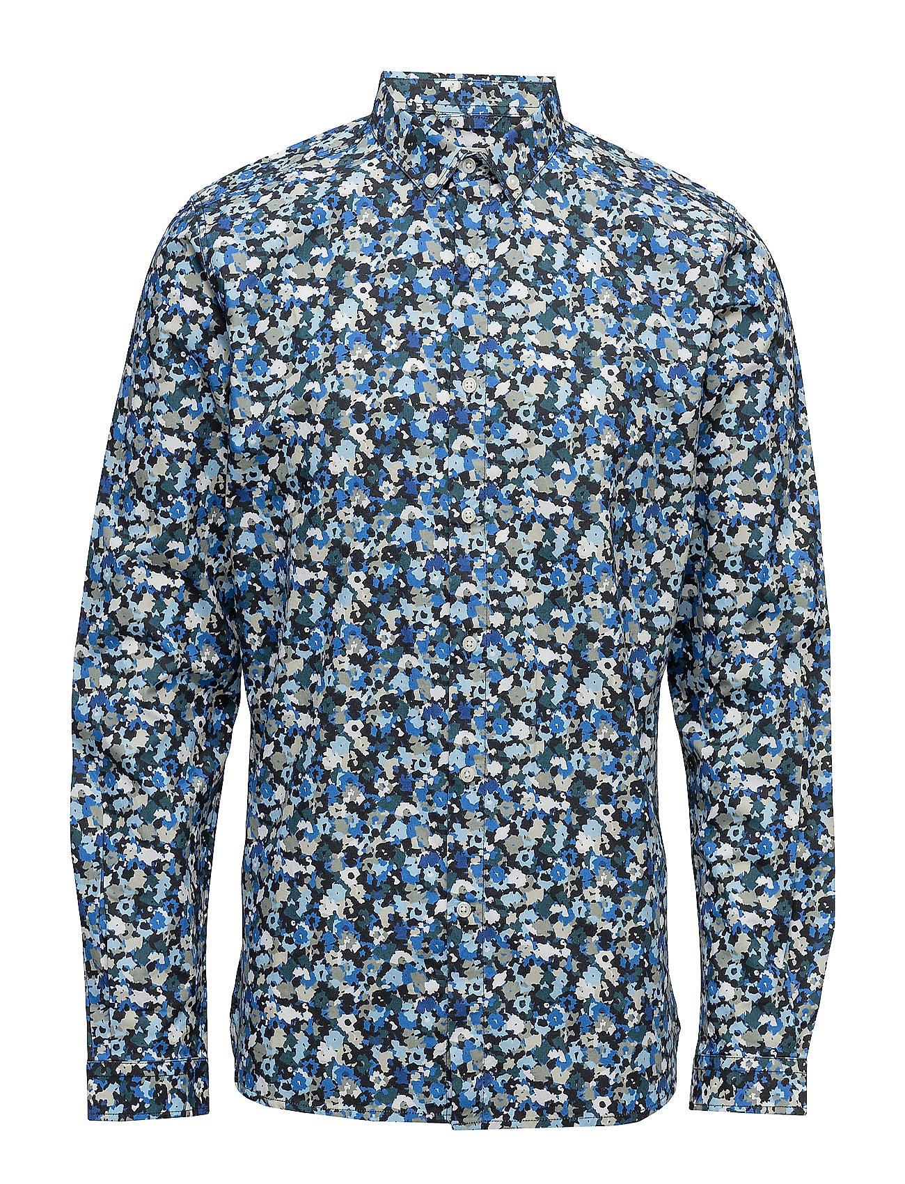 Poplin Shirt W/All Over Flower Prin Knowledge Cotton Apparel Casual sko til Herrer i