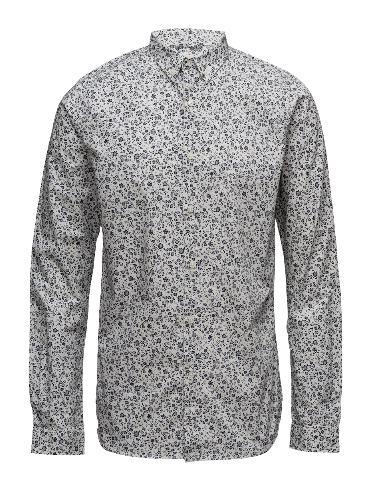 Poplin Shirt W/All Over Flower Prin Knowledge Cotton Apparel Casual sko til Mænd i