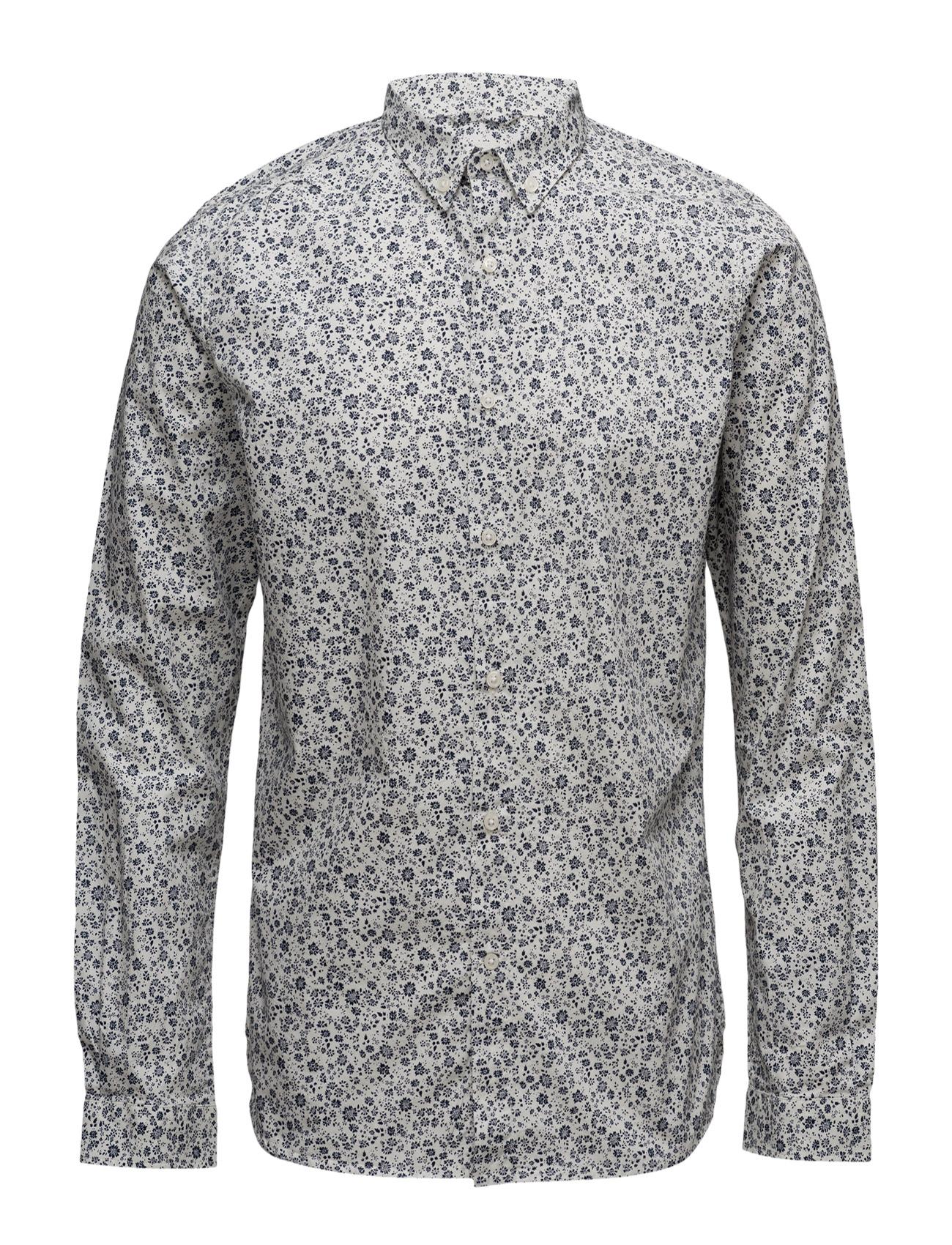 Poplin Shirt W/All Over Flower Prin Knowledge Cotton Apparel Trøjer til Mænd i