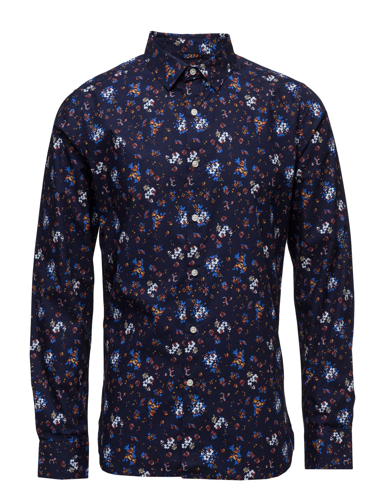 Flower Printed Poplin Shirt - Gots Knowledge Cotton Apparel Casual Skor